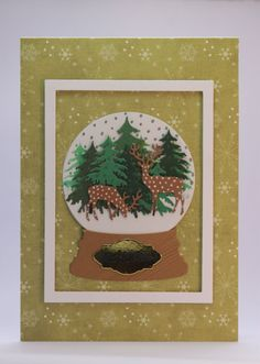 www.etsy.com/shop/SarahLouCards Hand Crafted Framed Snow Globe Christmas Card featuring Deer in the wood with glistening Snowfall