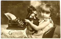 Vintage Photo's ~ Vintage postcard with a sweet girl. Description from pinterest.com. I searched for this on bing.com/images
