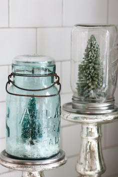 Easy DIY Holiday Crafts Idea - Mason Jar Snow Globes gift tutorial // The Inspired Room Christmas Christmas Snow Globes, Small Christmas Trees, Simple Christmas, Beautiful Christmas, All Things Christmas, White Christmas, Christmas Holidays, Christmas Decorations, Christmas Ideas