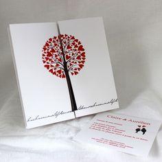 Faire-part mariage romantique « Notre Arbre-Amour rouge » 49415