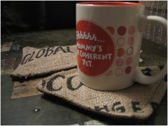 HOW to make coasters out of coffee burlap bag