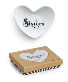 Cross My Heart Sisters White Porcelain Trinket Tray. Gift Boxed by Rosanna. $15.00 for 2