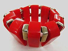 Red Bakelite Stretch Bracelet Chunky Art Deco by COBAYLEY on Etsy, $95.00