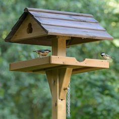 Our free-standing bird tables come in a range of different designs. Choose from the open bird tables or a selection of roofed tables, like gothic, gallery or country barn. Buy now from the RSPB Shop Bird Feeding Table, Bird Feeding Station, Homemade Bird Houses, Bird Houses Diy, Bird House Feeder, Bird Feeders, Bird Tables, Build A Greenhouse, Greenhouse Ideas