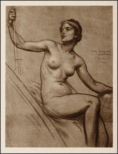 """Figure study for """"Science""""    Herbert James Draper (1863 - 1920)"""
