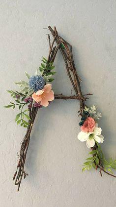 Woodland Nursery Letter, Twig Letter, Twig Monogram, Rustic Wall Letter, Rustic Letter, Baby Girl Nursery, Woodland Nursery, Fairy Decor #ad #woodlandnursery #twigletter