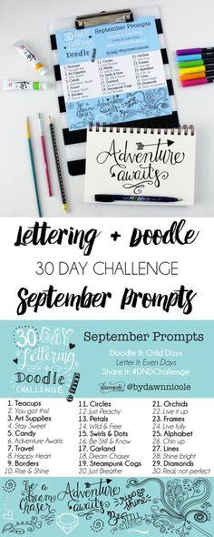 30 Day Hand-Lettering & Doodle Challenge: September Prompts | dawnnicoledesigns.com: