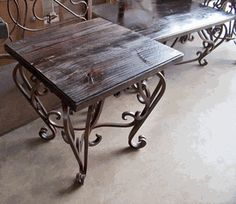 Wrought Iron End table Base w/ Wood Top