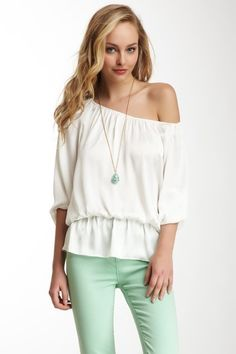 Vince Camuto 3/4 Length Sleeve Solid Peplum Peasant Blouse on HauteLook