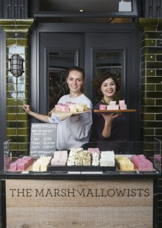 Kim Smart and Oonagh Simms at their Portobello Market stall The Marshmallowists