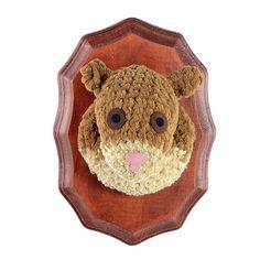 crocheted brown squirrel head faux taxidermy wall by pattihaskins
