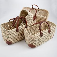 Medina Open Weave baskets with Leather Corners