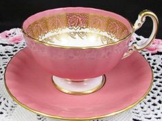 Aynsley Blush Pink Gold Gilt Rose Oban Style Tea Cup & Saucer