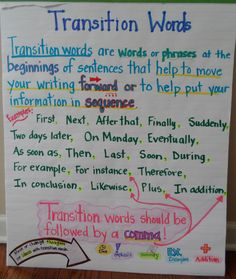 Transition Words- to use with lucy calkins informational writing bend 2 lesson 6 5th Grade Writing, Writing Classes, Kindergarten Writing, Writing Workshop, Teaching Writing, Writing Traits, Narrative Writing, Informational Writing, Writing Process