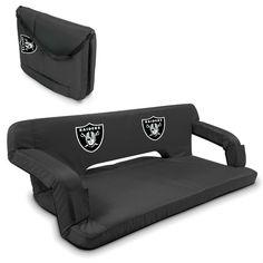 Oakland Raiders Black Reflex Portable Couch at www.SportsFansPlus.com