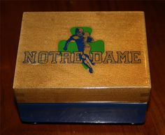 """Vintage Notre Dame Football Blue&Gold jewelry Music Box-3.5""""x4.5""""-Victory March"""