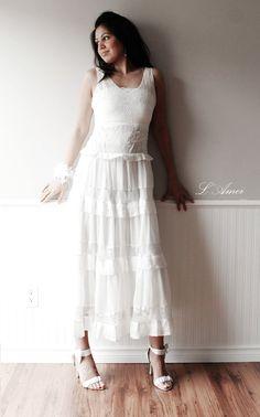 Soft Lace Ivory-White Romantic Beach Style Wedding Dress by LAmei