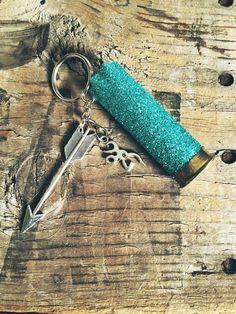Teal Turquoise Glittered 12 Gauge Shotgun Shell by AdelynElaines