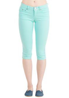 Crop to It! Jeans in Mint. Get up and at em with dazzling simplicity in these turquoise jeans - available for purchase in April! #mint #modcloth