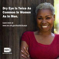 Dry Eye is twice as common in woman as in men.
