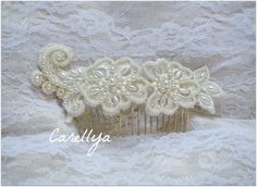 Vintage Lace Hair Comb - Wedding Hair Accessories - Bridal Lace Head Piece. $49.00, via Etsy.