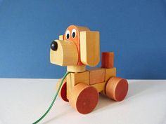Vintage wooden dog pull along toy