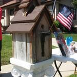 Birdhouse build by Tom of SWA Architects and raffled off to raise $110 for Dupage Habitat for Humanity