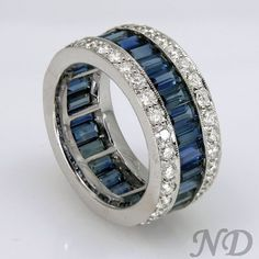 Wedding Bands :: 6.85 ct. Emerald Cut Dark Blue Sapphire Diamond Eternity Band