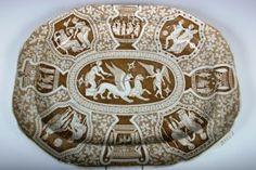1830 Spode Herculaneum Brown Transferware Platter