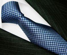 84495-LORENZO-CANA-Italian-Tradition-100-Silk-Tie-Blue-Houndstooth-Necktie