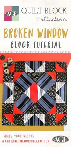 Hello Fabric Friends, So many great quilt blocks so little time! What's your favorite quilt block? Comment below to have a chance for it to be the next quilt block video in the AGF Quilt Block Collection. Today I want. Quilt Square Patterns, Pattern Blocks, Square Quilt, Block Patterns, Window Blocks, Broken Window, Art Gallery Fabrics, Quilting Tutorials, So Little Time