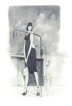 Rébecca Dautremer - Femme et lampadaire | Oeuvres | Galerie Robillard
