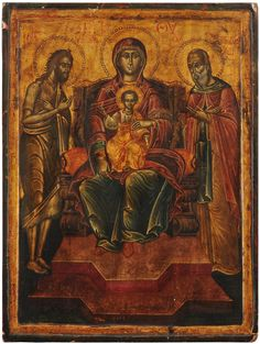The Virgin & Child enthroned with SS.John the Baptist and Christodolos, Greek H. Orthodox Icons, Ss, Greek, Child, Painting, Collection, Boys, Greek Language, Kid