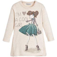 Mayoral Girls Beige Knitted Cotton 'I'm a Cool Girl' Dress  at Childrensalon.com