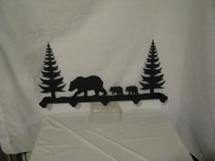 Bear 004 with Trees Coat Rack Metal Wildlife Wall by cabinhollow
