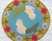 20% OFF PATTERN - Sea of the Mermaid - Wool Applique Candle Mat