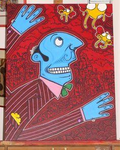 """Title : """"Le mangeur de mouche bleu""""  Medium : Acrylics on Canvas  Year : 2008  Size : 550 x 750 mm"""