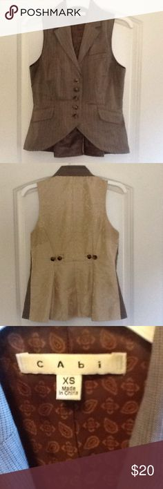 CAbi Liverpool Waistcoat Riding Vest size XS Front of vest is a brown/grayish color.  Beautiful Damask back with buttons that will adjust.  CAbi is know for their great quality.  Super flattering fit. CAbi Tops