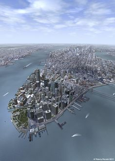 One of the best Manhattan 3D model was make by Thierry Perrain. He construct a large model rendered in Cinema 4D with more than 2 milion of polygon. Not happy he chose to set the model into two historical time, and now work to build the New World Trade Center.  More link and image here: http://rare911.tumblr.com/post/47138346396/one-of-the-best-manhattan-3d-model-was-make-by