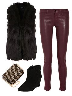 bergundy is the new black Fur Vest Outfits, Leather Pants Outfit, Black Leather Pants, Leather Dresses, Edgy Outfits, Cute Outfits, Fall Outfits 2018, Winter Outfits, Winter Dresses