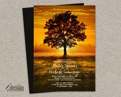 Printable Fall Rehearsal Dinner Invitation With Autumn Sunset For Outdoor, Country, Backyard, Garden, Park Or Countryside Wedding Or Event by iDesignStationery on Etsy