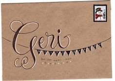 Black & white on brown kraft paper. ... scrolly/crosshatched letters, pennant banner, white shadows and accents.