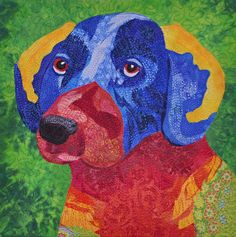 """Labikeet"" by Diane Perin Hock, Twelvebytwelve artists.  A portrait quilt of her dog, inspired by the colors of a lorikeet."