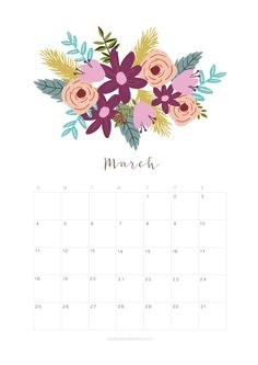 Printable March 2018 Calendar Monthly Planner – Flower Design