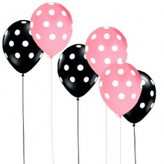 Pink and White, Black and White Polka Dot Balloons.  So perfect for an Eloise at the Plaza party'