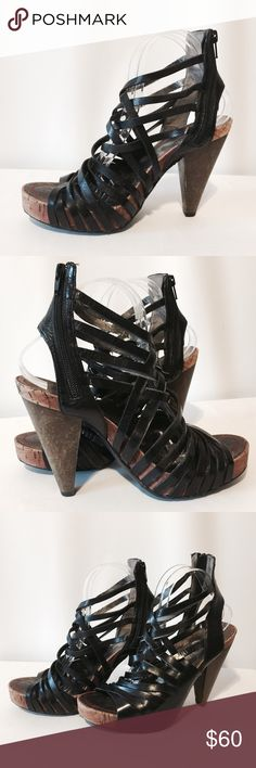 """Miss Sixty 'Tracy' Black Leather Sexy Platform SEXY!!! Leather upper, man made bottom. Cork platform, wooden heels. Worn a couple of times, really comfortable.   1"""" platform  5"""" heel Miss Sixty Shoes Platforms"""