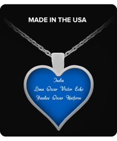 I Love You - Heart Pendant Necklace (Blue) hpn-ily2