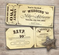 Country Vintage Ticket Wedding Invitation Set FREE Shipping Within The US