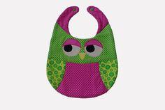 Lätzchen -  Lätzchen großes Babylätzchen Eule pink grün - ein Designerstück von EuleLulu bei DaWanda