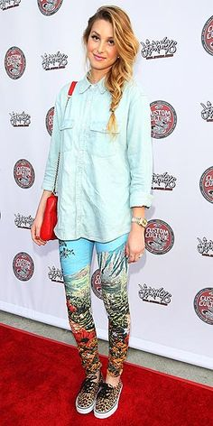 Whitney Port is wild for her leopard-print lace-up Vans, which she wears with a chambray shirt, a red Rebecca Minkoff bag and graphic leggings. If this print-on-print look is a little much for your taste, swap out the pants for a flared skirt or skinny jeans to let the shoes take center stage.